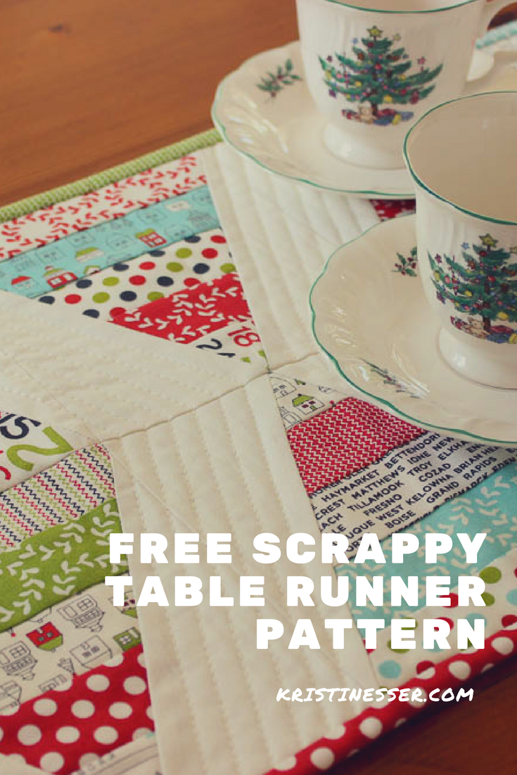 scrappy table runner pattern and tutorial at kristinesser.com