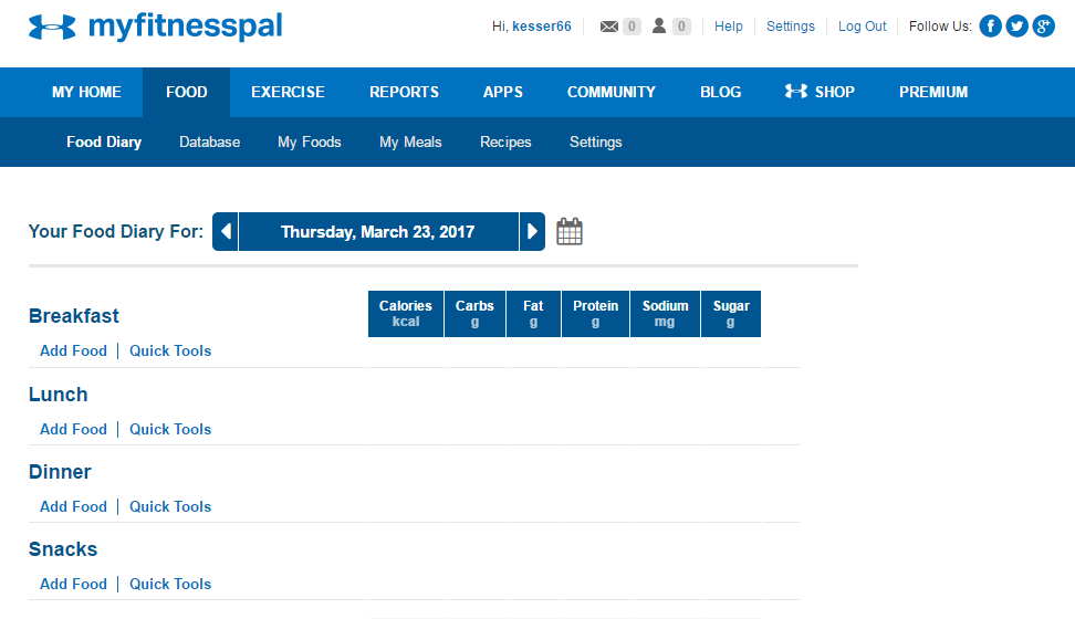My Fitness Pal to track food