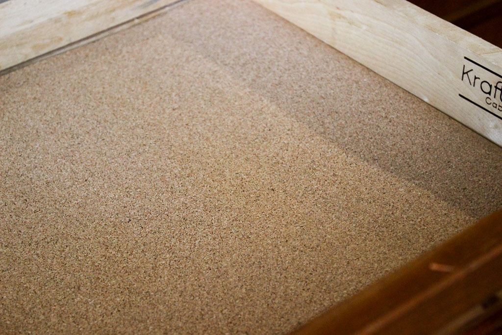 Lining kitchen drawers with cork at Simple. Handmade. Everyday.