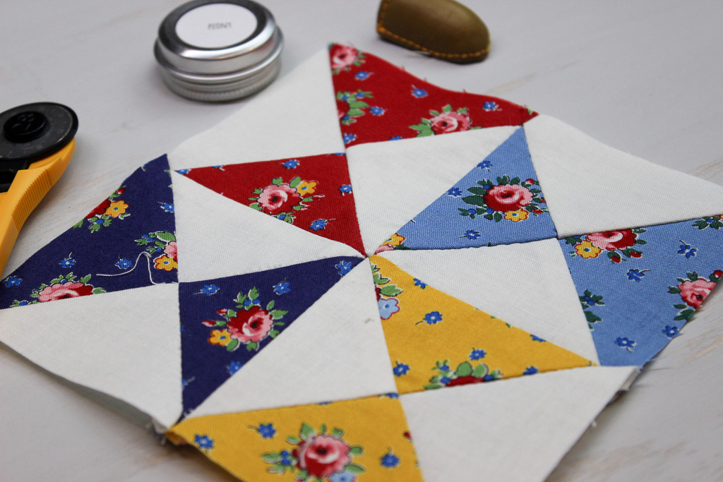 Hand Pieced QAL: Quarter Square Triangles (Block 4)