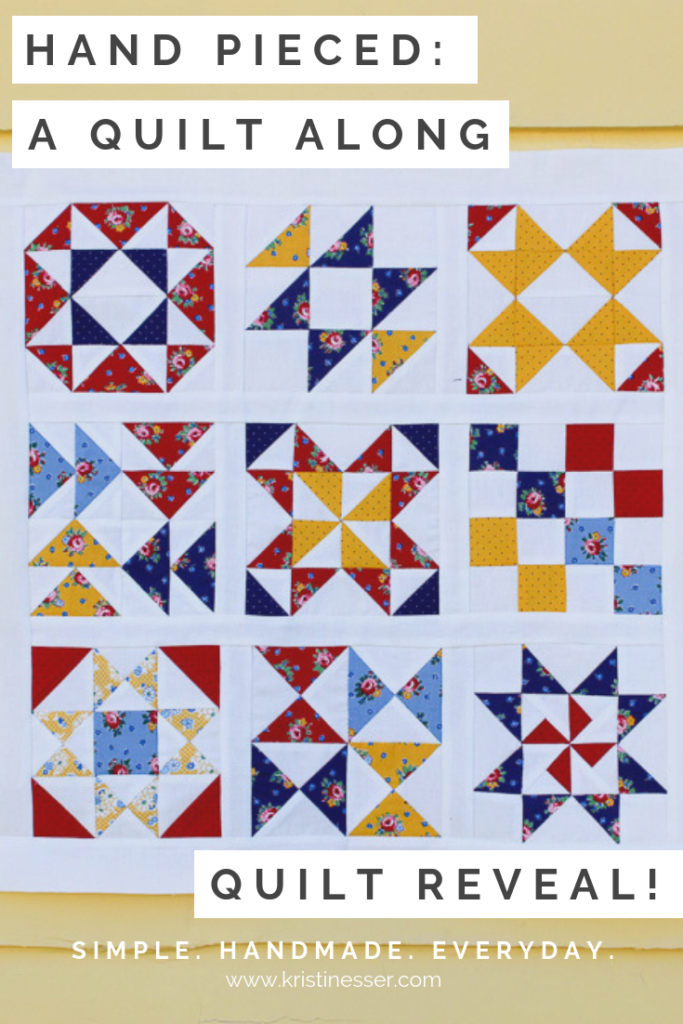 Hand Pieced Quilt Along: Learn hand piecing by sewing this simple, fun sampler quilt.